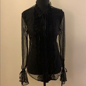 Black Sheer Bell Sleeve Blouse w/ Polka Dots